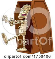 Cartoon Mummy Walking Out Of A Coffin by Hit Toon