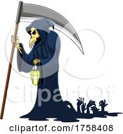 Cartoon Grim Reaper And Zombie Hands Rising by Hit Toon