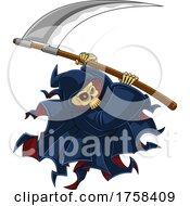 Cartoon Grim Reaper Swinging A Scythe by Hit Toon