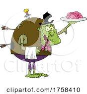 Cartoon Zombie Serving Brains by Hit Toon