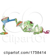 Cartoon Zombie Trying To Grab His Legs That Are Walking Away by Hit Toon