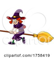 Cartoon Witch Flying On A Broomstick by Hit Toon