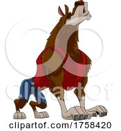Cartoon Werewolf Howling by Hit Toon