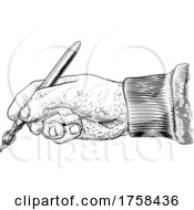 Poster, Art Print Of Artists Paintbrush Hand Vintage Woodcut Print