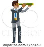 Telescope Spyglass Character Business Concept