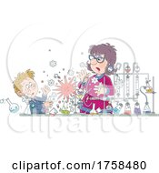 Teacher And Student With An Exploding Science Experiment