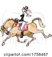 Cartoon Female Equestrian On Her Horse