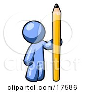 Clipart Illustration Of A Blue Man Holding Up And Standing Beside A Giant Yellow Number Two Pencil