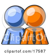 Clipart Illustration Of A Blue Person Standing Beside An Orange Businessman Symbolizing Teamwork Or Mentoring