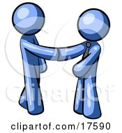 Poster, Art Print Of Blue Man Wearing A Tie Shaking Hands With Another Upon Agreement Of A Business Deal