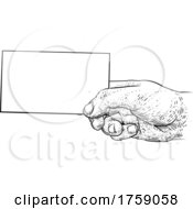 Poster, Art Print Of Hand Holding Business Card Letter Message Flyer