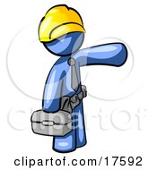 Clipart Illustration Of A Blue Man A Construction Worker Handyman Or Electrician Wearing A Yellow Hardhat And Tool Belt And Carrying A Metal Toolbox While Pointing To The Right by Leo Blanchette