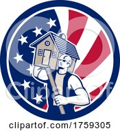 Retro Male Mover Or Builder Holding A House And Level In An American Flag Circle