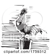 Woodcut Rooster Crowing on a Post by xunantunich #COLLC1759312-0119