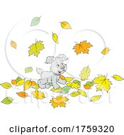 Puppy Dog Playing In Autumn Leaves