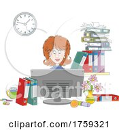 White Businesswoman Working At Her Computer