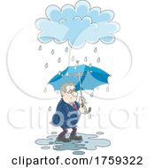 Poster, Art Print Of Cartoon Businessman Holding An Umbrella In The Rain