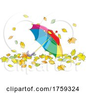Umbrella In Autumn Leaves
