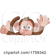 Poster, Art Print Of Monkey Cartoon Animal Behind Sign Thumbs Up Waving