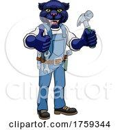 Panther Mascot Carpenter Handyman Holding Hammer