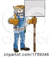 Wildcat Cartoon Mascot Handyman Holding Sign