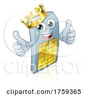 Mobile Phone Sim Card King Cartoon Mascot