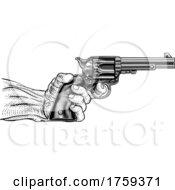 Poster, Art Print Of Hand And Western Cowboy Gun Pistol Vintage Woodcut