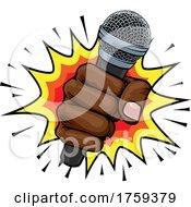 Microphone Fist Hand Explosion Pop Art Cartoon
