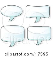 Clipart Illustration Of A Set Of Four Word Balloons