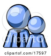Clipart Illustration Of A Blue Child Or Employee Standing Beside A Bigger Blue Businessman Symbolizing Management Parenting Or Mentorship