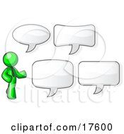 Clipart Illustration Of A Lime Green Businessman With Four Different Word Bubbles
