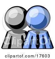 Clipart Illustration Of A Gray Person Standing Beside A Blue Businessman Symbolizing Teamwork Or Mentoring