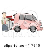 An Anxious Man Filling Up His Gas Hog Of A Vehicle Possibly A Mini Van That Is Pink Has A Curly Tail And Snout And Resembles A Pig Clipart Illustration