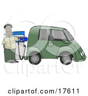 A Hispanic Or Black Businessman Standing At A Gas Pump While Anxiously Fueling His Tank And Spending Money He Doesnt Want To To Fill Up His Green Car Which Resembles A Minivan Clipart Illustration