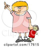 Angry Little Blond Girl Holding Her Doll And Flipping Someone Off After Not Getting Her Way