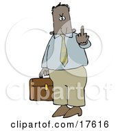 Mad Hispanic Or Black Business Man Carrying A Briefcase And Flipping Someone Off For Being Rude