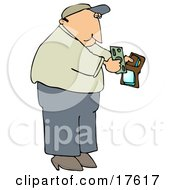 Middle Aged Caucasian Man Holding His Wallet Open To Pull Out Cash To Make A Payment Clipart Illustration