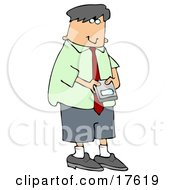 Young Caucasian Businessman Using A Smart Phone To Check His Email Clipart Illustration