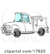 White Work Truck With Built In Compartments For Needed Supplies