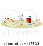 Relaxed Caucasian Man Holding An Alcoholic Beverage And Relaxing After Being Buried In The Warm Sand On A Beach During Summer Vacation Clipart Illustration