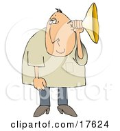 Middle Aged Caucasian Man Holding An Ear Horn Or Ear Trumpet To His Ear To Amplify His Hearing