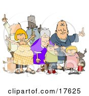 Group Of Angry People Of All Ages And Mixed Ethnicities Standing With A Dog And A Cat And Flipping People Off Clipart Illustration