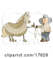 Fussy And Angry Brown Horse Flipping Off A Confused Cowboy Who Is Trying To Put A Lasso Around Him Clipart Illustration