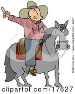 Pissed Off Cowboy Sitting On A Saddle On A Horse Flipping Off Someone Behind Him Clipart Illustration