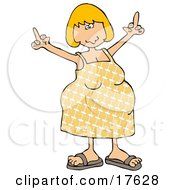 An Angry Blond Caucasian Pregnant Woman In A Yellow Dress And Sandals Using Both Hands To Flip People Off While Her Hormones Flare Clipart Illustration by djart