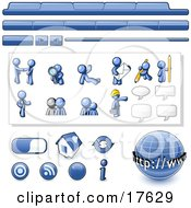 Blue Man Web Design Kit With Tabs Icons And Web Buttons