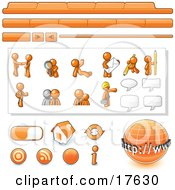 Orange Man Web Design Kit With Tabs Icons And Web Buttons