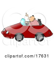 Angry Middle Aged Caucasian Man With Road Rage Driving A Red Convertible Car And Flipping Someone Off Clipart Illustration