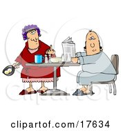 Angry Caucasian Woman A Wife With Her Hair Up In Curlers Holding A Frying Pan With Two Eggs In It And Flipping Off Her Husband Clipart Illustration