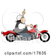 Angry Caucasian Biker Man Riding A Red Motorcycle And Flipping Someone Off Who Doesnt Know How To Drive Clipart Illustration by djart #COLLC17635-0006